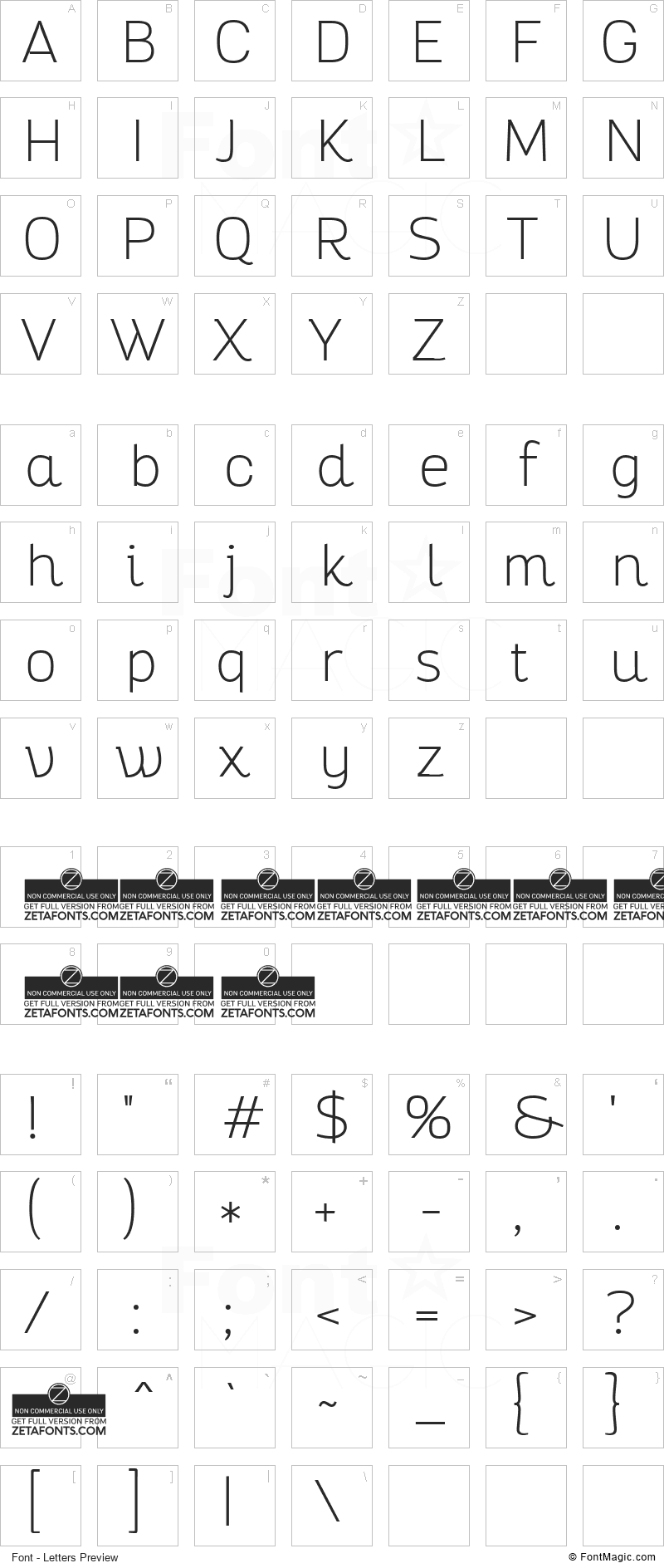 Altair Font - All Latters Preview Chart