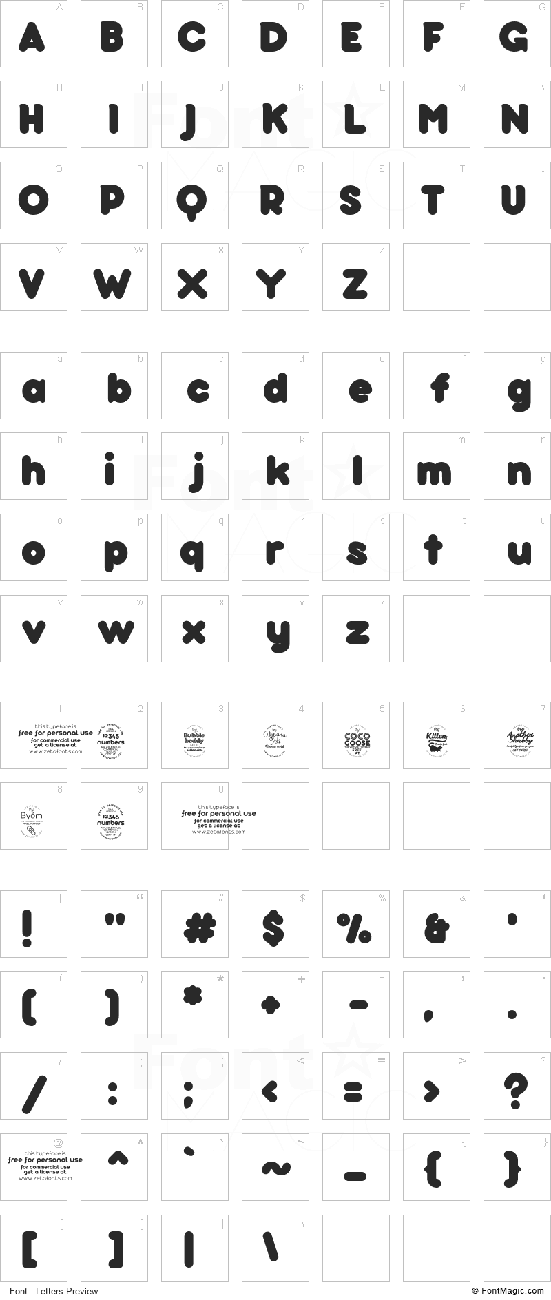 Bubbleboddy Font - All Latters Preview Chart