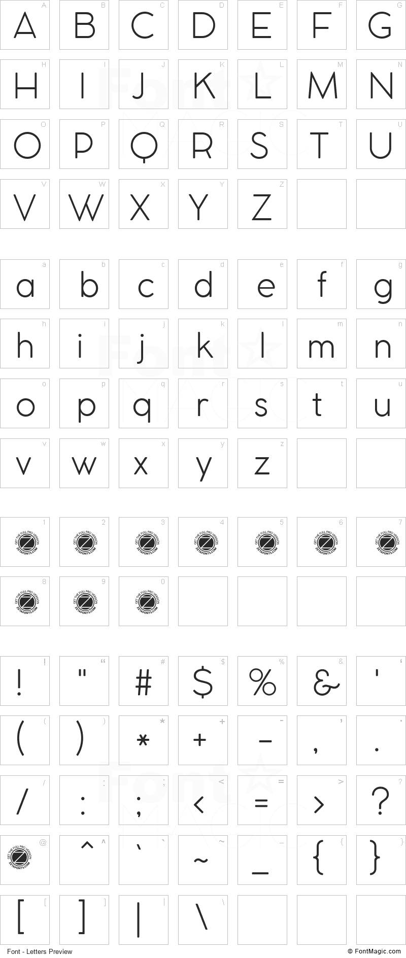 Cocomat Font - All Latters Preview Chart