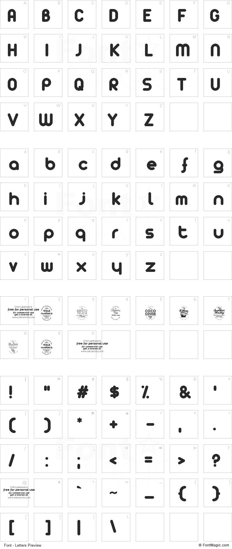 [z] Arista Font - All Latters Preview Chart