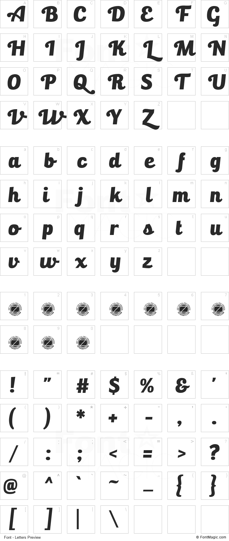 Bulletto Killa Font - All Latters Preview Chart