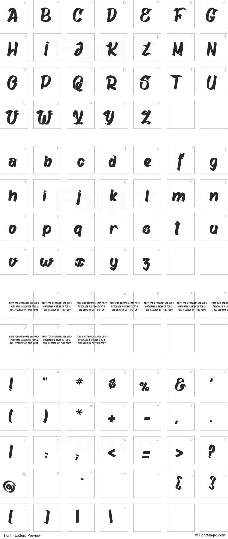 Gatalike Font - All Latters Preview Chart