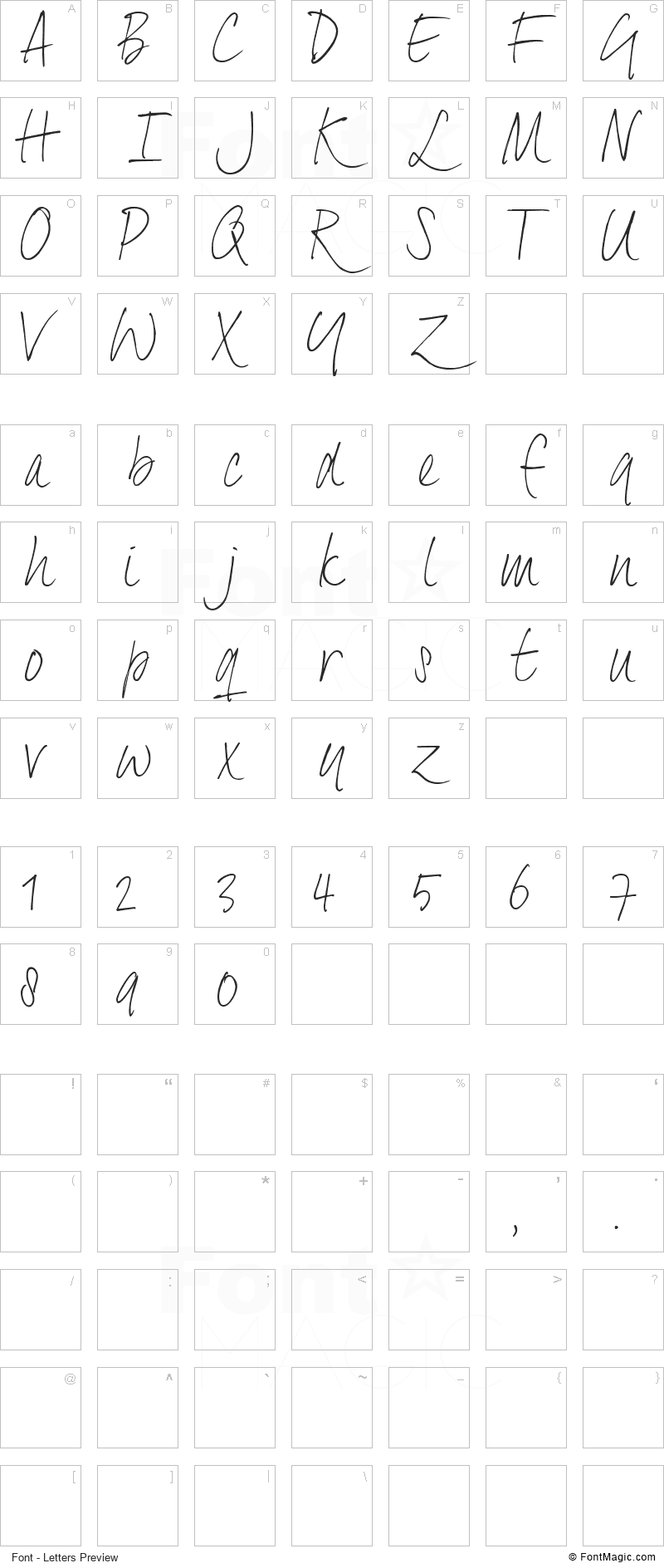 Dextera Font - All Latters Preview Chart