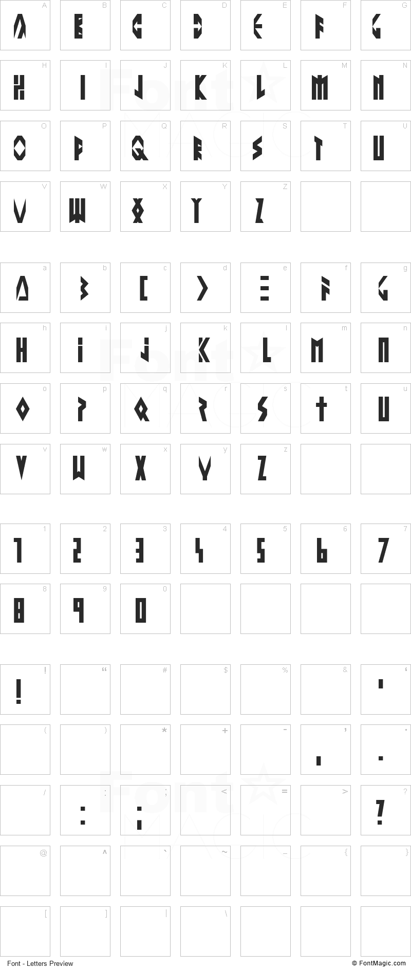 Altering The Future Font - All Latters Preview Chart