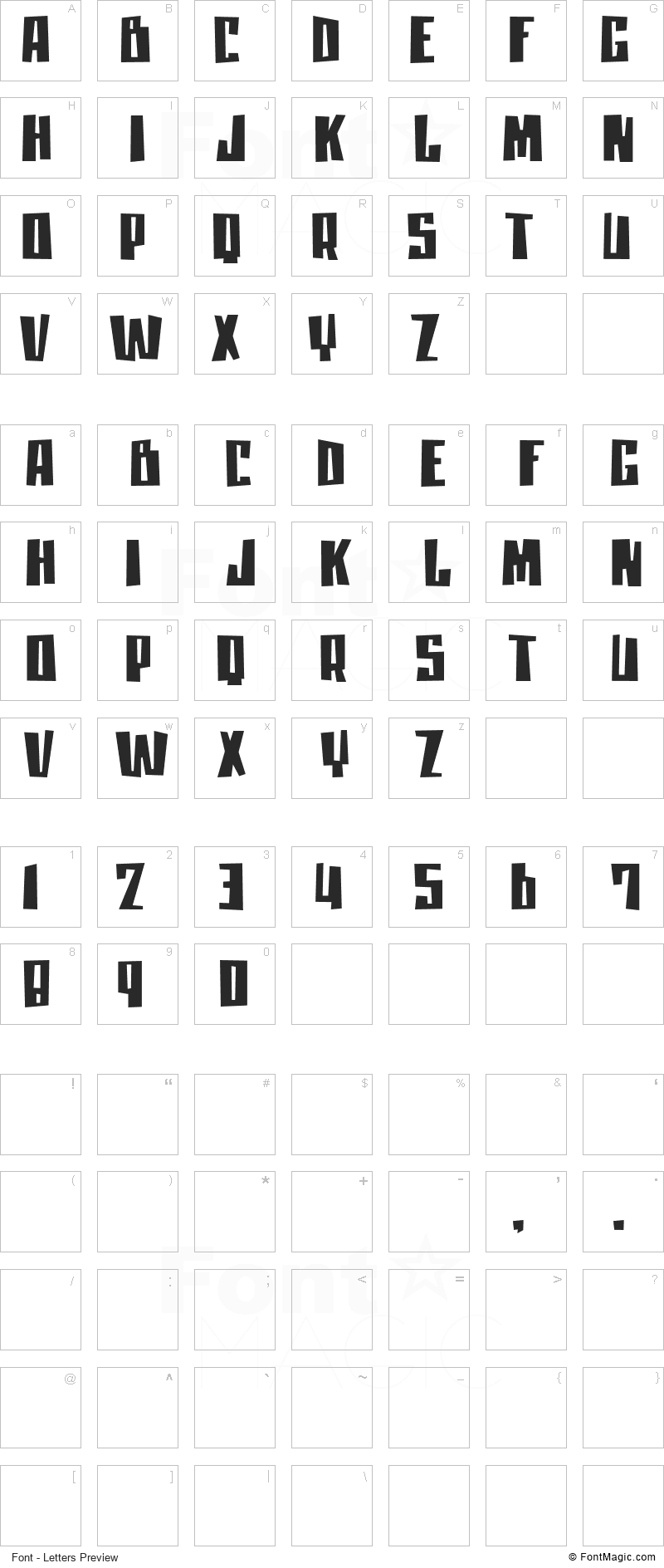 Moan Lisa Font - All Latters Preview Chart