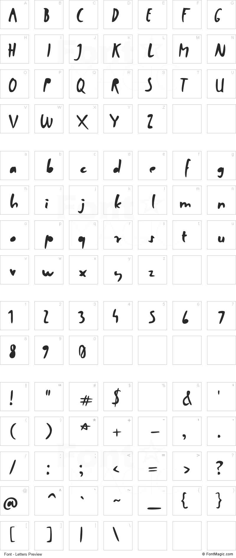 Factory Worker Font - All Latters Preview Chart