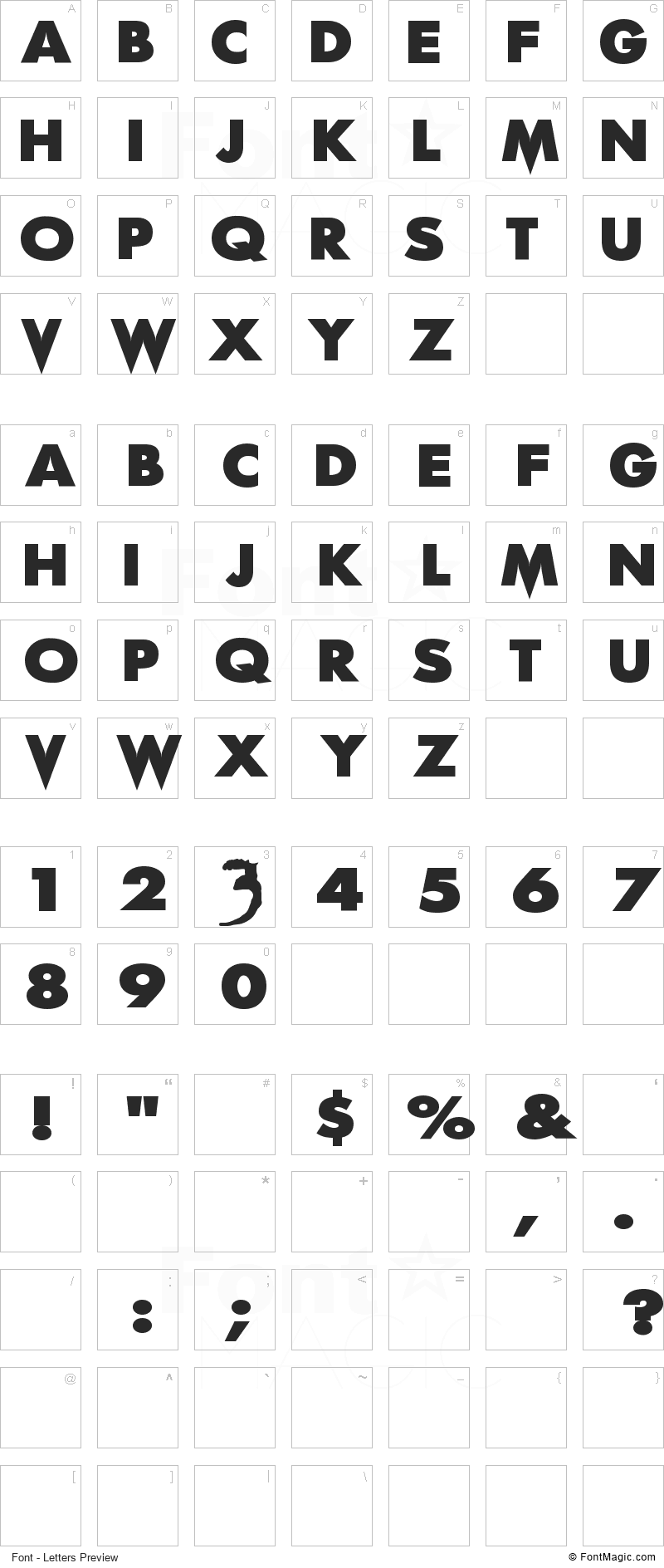 Scream Real Font - All Latters Preview Chart