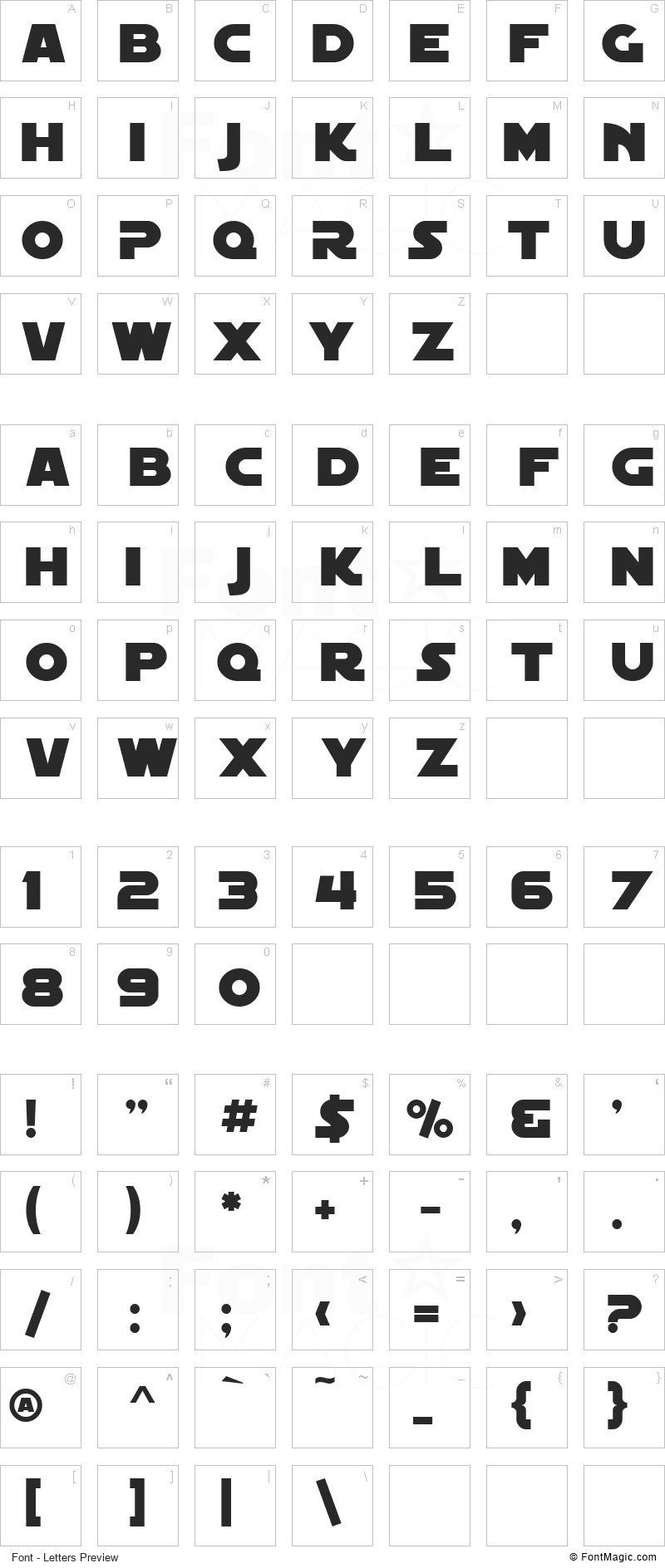 SF Distant Galaxy Font - All Latters Preview Chart
